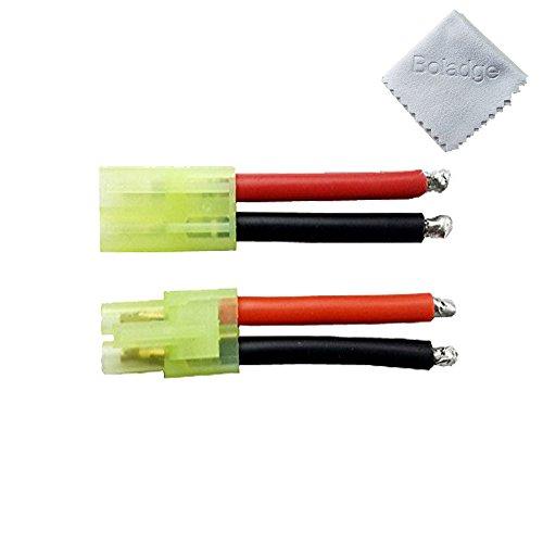 Boladge 1 Pairs mini tamiya batterie anschlüsse männlichen und weiblichen 14awg silikon draht airsoft (Airsoft Draht)