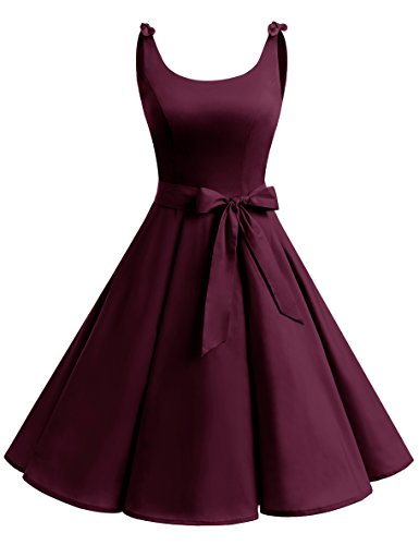 bbonlinedress 1950er Vintage Polka Dots Pinup Retro Rockabilly Kleid Cocktailkleider Burgundy XS