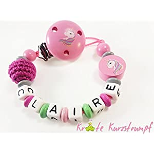 Schnullerkette mit Namen für Mädchen mit Einhorn und Häkelperle - rosa, mint, grau