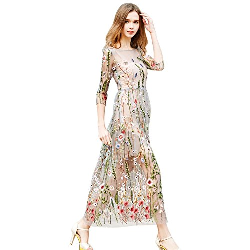 PanDaDa Frauen Floral bestickt Sheer Mesh Abendkleid mit Cami Kleid (Mesh-kleid Besticktes)