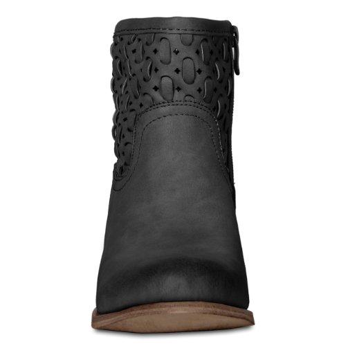 CASPAR Bottines courtes vintage perforées pour femme / Motif perforé super tendance - 3 coloris - SBO029 Noir
