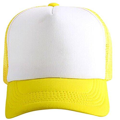 TUDUZ Baseball Cap Unisex Mesh Hut Kappe Classic Snapback 2-Tone Cap, Zweifarbige blanko Cap mit geradem Schirm, One Size Einheitsgröße für Damen und Herren(,Gelb)