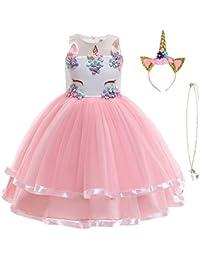 URAQT Robe Licorne Enfant de Princesse, Robe Licorne Fille, Costume Princesse Fille, Robe de Princesse avec Licorne, Unicorn Party,Multicolore