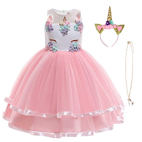 URAQT Robe Licorne Enfant de Princesse, Robe Licorne Fille, Costume Princesse Fille, Robe de Princesse avec Licorne, Unicorn Party,Multicolore(Rose),150 pour les 7-8 ans