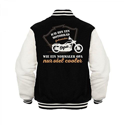 Fashionalarm Herren College Jacke - Motorrad fahrender Opa | Varsity Baseball Jacket | Sweatjacke als Geburtstag Geschenk Idee Biker Schwarz / Weiß