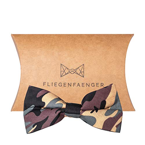 FLIEGENFAENGER ® vorgebundene Herren Fliege im [Camouflage Style] für deinen Anzug individuell verstellbar inklusive Geschenk Box