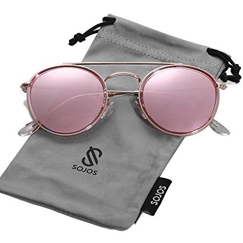 SOJOS Retro Metall Polarisiert Runde Sonnenbrille Damen Herren SJ1104 mit Rose Gold Rahmen/Rose Gold Linse