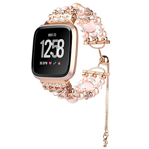 WAOTIER für Fitbit Versa Lite Armband Kristaller Armband mit Strasssteinen und Kunstlicher Achat Deko Edelstahl Ketten Ersatzband für Fitbit Versa Lite Armband Slim Glitzer Armband für Frauen (Rosa)