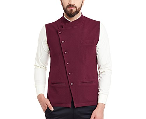 Hypernation Maroon Color Side Button Waistcoat For Men