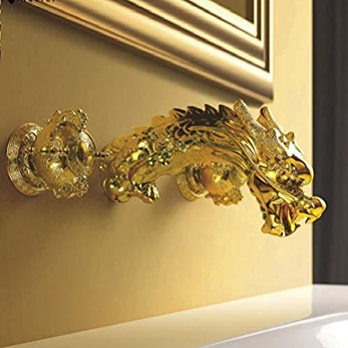 Badewanne Wasserhahn Wandhalterung Barock Gold Messing Bad Toilette Waschbecken Wasserhahn Drache...