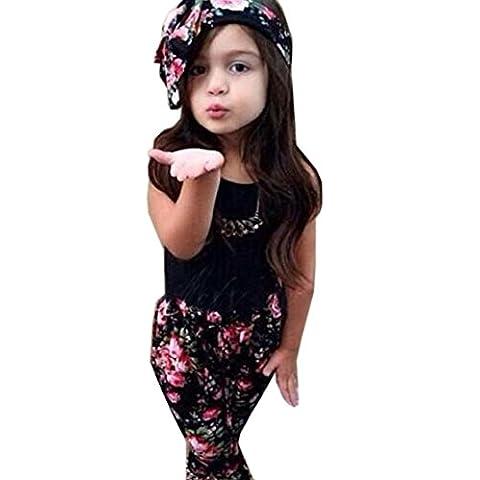 Koly Girls Clothing Sets Sleeveless Shirt + Pants + Flower