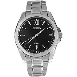SGEG61 Seiko Men's Watch Analogue Quartz Black Dial Steel Strap Grey