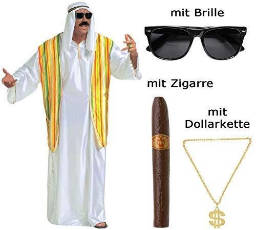 Kostüm Scheich Größe XL - Ölscheich mit Brille, Zigarre, ()