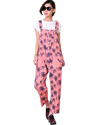 Vogstyle Donna Pantaloni Jeans Donna Salopette A fiori Stile-1 Rosa