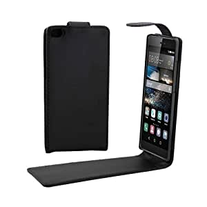 Crazy4Gadget Vertical Flip Magnetic Button Leather Case for Huawei P8(Black)