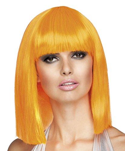 Smiffys, Damen Glamour Perücke, Kurzer Bob mit Pony, One Size, Neon Orange, 42139