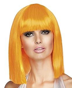 Smiffys-42139 Peluca glamurosa, Corta, despuntada con Flequillo, Color Naranja neón, Tamaño único (Smiffy