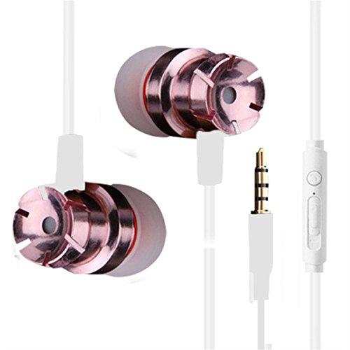 Xshuai Altern-Widerstand In-Ohr Abendessen Bass Metall Ohrhörer Kopfhörer Universal Kopfhörer Mikrofon 3.5mm für iPhone 7/7 Plus-6 s / 6 s Plus Google Pixel, Tabletten, Samsung, LG (Rose Gold)