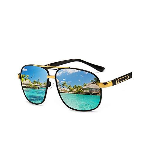 Sportbrillen, Angeln Golfbrille,Polarisiert Men's Sunglasses Outdoor Driving Metal Mirror Sun Glasses Vintage HD UV400 Rectangle Glasses Black Gold