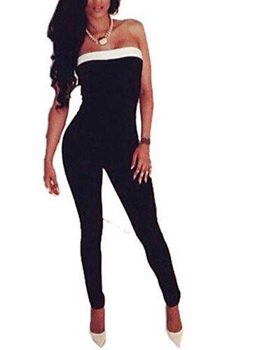 GSP-Combinaisons Aux femmes Sans Manches Sexy / Décontracté / Grandes Tailles Coton / Autres Fin Micro-élastique black-s