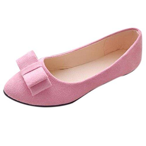 Sandalen Damen,Binggong Frauen Ballett Schuhe Arbeit Wohnungen Fliege Slip Bowknot Schuhe Boot Bequeme Schuhe Mode Sandalen Reizvoller Berufssandale Stilvoll Atmungsaktiv Badeschuhe (Rosa, 38) (Keile Leder Ballett)