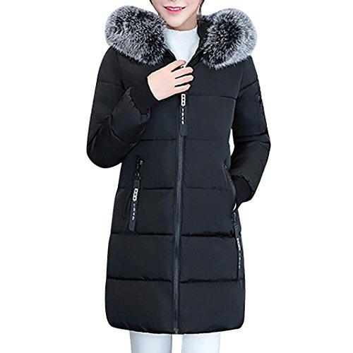 Koly giacca invernale donna soprabito caldo cappotto lungo più spesso slim fit capispalla parka lammy cappotto invernali colletto manica giacca cotone cappuccio caldo spessa giacca (black, xxl)
