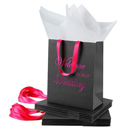 Loveinside Medium Kraft Gift Bags-Willkommen zu Unserer Hochzeit Pink Foil Black Paper Geschenktüte mit Seidenpapier - Hochzeit, Party Favor, Brautjungfern Geschenk-12Pack -20.5 X10.2 X 25.5CM