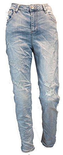 Monday Premium Big Size Denim Jeans Star / Stretch / Destroyed / Skinny / Strasssteine / Used-Blue / A0629 / 2017080114 (42 (XL), Denim-Used-Blue) (Premium Star Big Jeans)