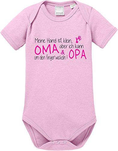 EZYshirt® Meine Hand ist klein aber ich kann Oma & Opa um den Finger wickeln Baby Body Shortsleeve