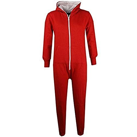 Unisex Kids Plain Colour Onesie - Red - 2-3