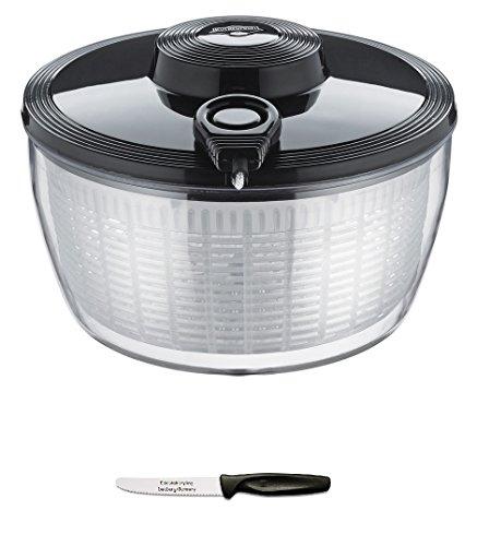 Küchenprofi Salatschleuder schwarz + Edelstahlstyling Universalmesser im Set