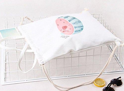 Hosaire 1x Hand Tasche Rucksäcke Multifunktion Einfacher Stil Canvas Rucksack Backpack Damen Frauen Daypacks Handtasche mit Seil,35 x 40 cm Farbe#4