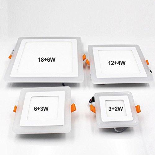 Doppelfarben-Acryl LED vertiefte Decken-Platte unten beleuchtet ultra dünne Lampe für Innenbüro-Restaurant Square 6 + 3 blue + white Blue Square Platte