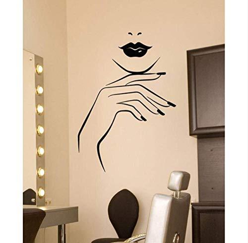 Wandaufkleber Vinyl Art Deco Wandtattoo Girl Lips Beauty Salon Maniküre Nail Service Aufkleber 57X81Cm