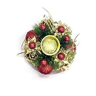Snner Vela De La Navidad De Oro Portapilares Candelabro con Piñas Garland Adornos De Escritorio Centro De Mesa para Navidad Decoración del Partido, 1pc
