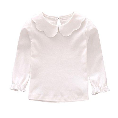 Hongyuangl Mädchen Langarm Shirt mit Bodenbildung Peter Pan Collar Tops Kinder Langarm T-Shirt - Kinder Peter Pan T-shirt