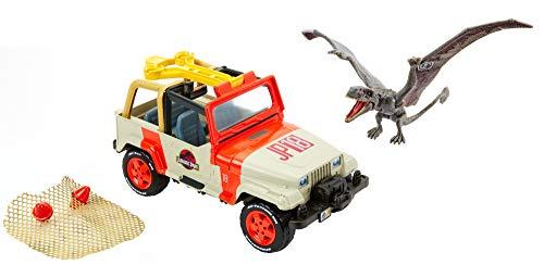 Jurassic World- Jeep con Trappola Rete Set Veicolo con Dinosauro, FNP46