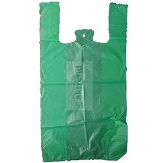 AKTrend® 2.000 Hemdchentragetasche 30 + 18 x 55 cm grün 14 my - HDPE stabil , 2000 Stück Tragetaschen 300+ 180 x 550 mm grün 14 my Plastik tüte , Trage Taschen