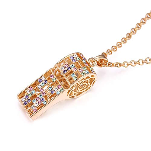 NJHUBZ Halskette Personalisierte Diamant Hohlen Whistle Long Pullover Kette Weibliche Crystal Kleidung Zubehör, Farbe