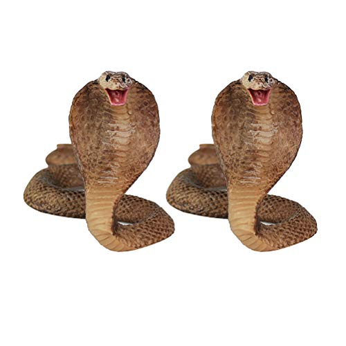 Amosfun 2 Stücke Halloween Simulation Cobra Figur Schlange Modell Spielzeug Desktop Ornamente Streich Prop Dekoration