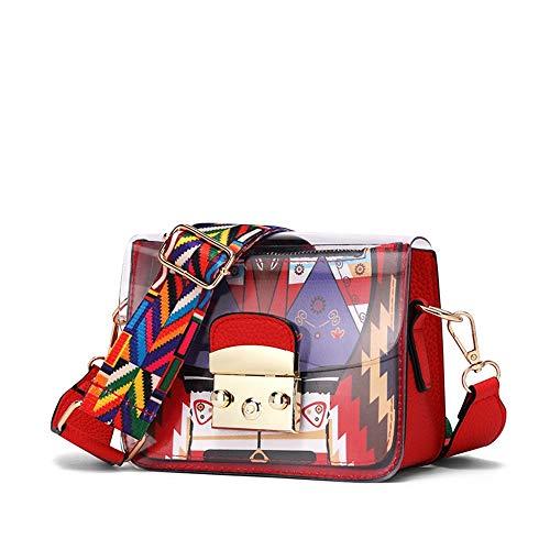 Stiya Moderne & Elegante Kleine Mini Rote Tasche Damen Mädchen Günstige Tasche rot & Bunt mit Printmuster ~ sehr stylisch für moderne Frauen - Stylische Mini Handtasche