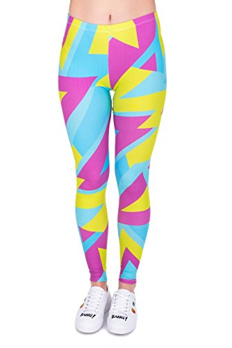 Kukubird Printed Patterns Women\'s Yoga Leggings Gym Fitness Running Pilates Tights Skinny Pants Size 8-12 Stretchable-Neon Sport