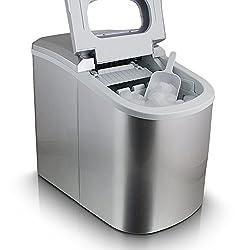 Eiswürfelmaschine Eiswürfelbereiter Eiswürfel Ice Maker Eis Maschine Icemaker (Silber)