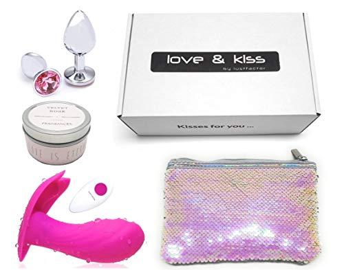 Lustfactor LOVE + KISS Geschenkbox mit 2 tollen Lovetoys   Butterfly-Vibrator mit Funk-Fernbedienung + Metall-Analplug + Duftkerze + Secret-Bag   Erotik Geschenkset für Sie, Sex Toyset für Frauen
