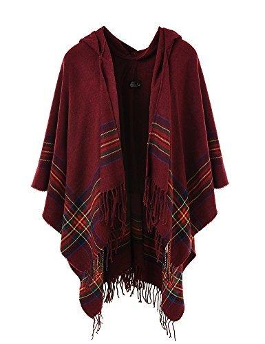 Ferand Poncho Cape Elegant für Damen, Stil Vorne Offen und Dicke für Herbst Winter mit Kapuze und Fransen, One Size, Stil 6: Burgund
