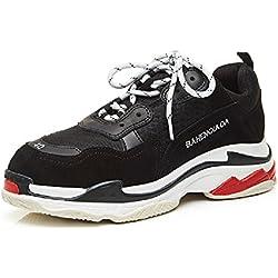 YORWOR Unisex Uomo Donna Scarpe Stringate Basse Fondo Spesso Sneakers Nero EU 40
