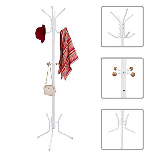 Todeco - Kleiderständer, Mantel und Hutständer - Größe: 50,0 x 50,0 x 177,8 cm - Anzahl der Füße: 3 - Weiß (Messing-schirmständer)