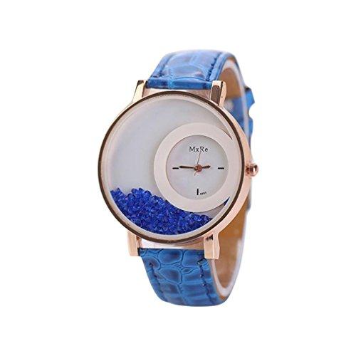HUIHUI Uhren Damen, Geflochten Armbanduhren Günstige Uhren Wasserdicht Casual Strass Rivet Kette Runde Quarz Analog Armband Armbanduhr Coole Uhren Lederarmband Mädchen Frau Uhr (Blau)