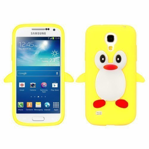 Avcibase 4260383181857 Silikon Case 3D Pinguin Schutz Hülle für Samsung Galaxy S4 Mini i9190 gelb