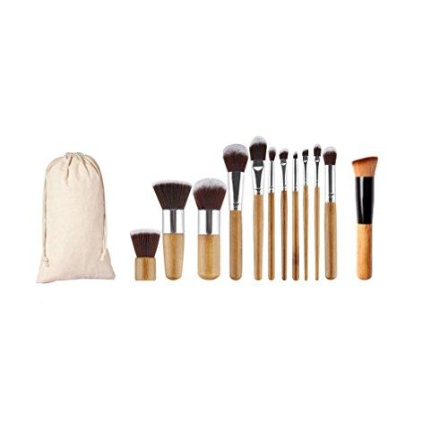 Susenstone 1PC Oblique Head Brosse + 11PCs Cosmétique Maquillage Pinceaux Trousse de Maquillage + 1PC String